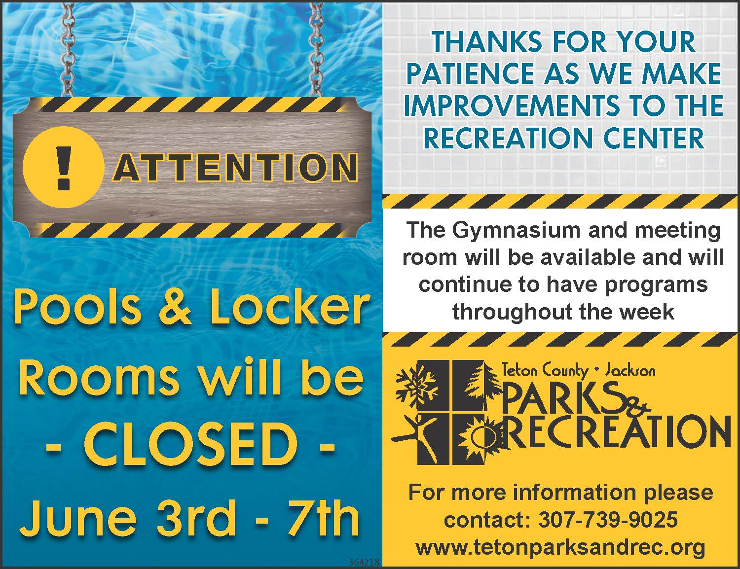 June 3-7 Pool and Locker Room Closure 2019